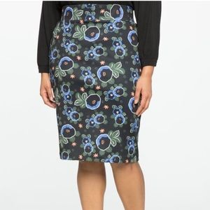 Eloquii Floral Neoprene Pencil Skirt Sz 14